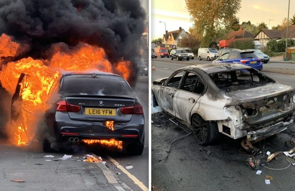 Firefighter's BMW making 'strange noise' bursts into flames while he was driving his 10-year-old son home from school in Surrey