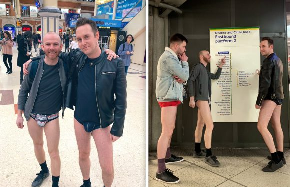 Commuters strip down to their underwear on London Underground for annual 'No Trousers Tube Ride' in attempt to 'brighten up January'