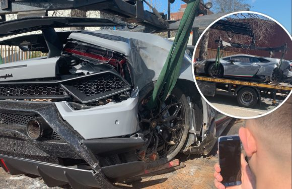 Driver slams £215,000 Lamborghini into the wall after losing control when attempting 'launch' mode on small residential road